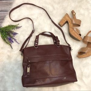 NINE West Pebbled Faux Leather Satchel